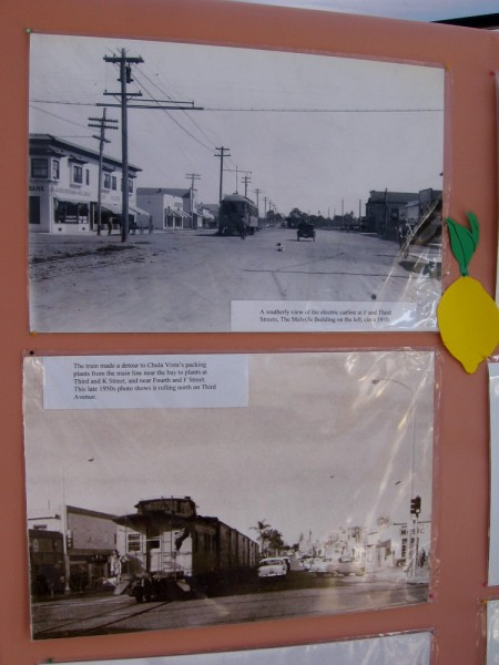 Old photos of Chula Vista streetcar and train at Third Avenue.