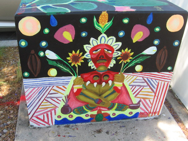 Stunning street art in Barrio Logan abundant with ancient symbolism.