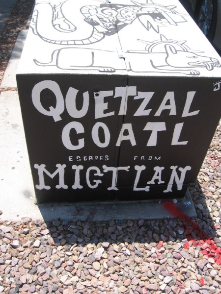 One box depicts the mythological Aztec story Quetzalcoatl escapes from Migtlan (a part of the underworld).