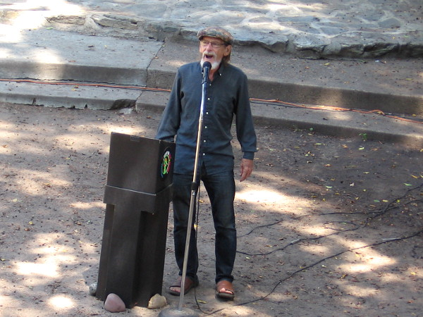 Chris Vannoy, US National Beat Poet Laureate 2018-2019, reads live poetry in the Zoro Garden during the Garden Theatre Festival in Balboa Park.