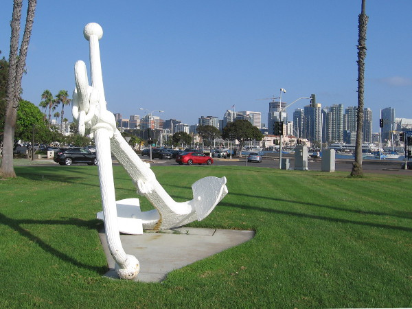 Circling the big anchor, my camera captured the skyline of downtown San Diego.