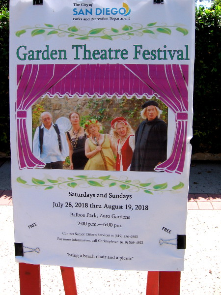 The Garden Theatre Festival continues through Sunday August 19, 2018. Live performances are enjoyed free to the public in Balboa Park's Zoro Garden.