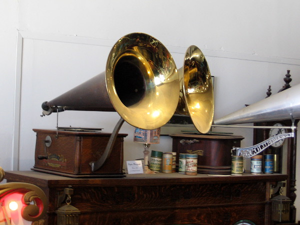 An antique two-horn Duplex Phonograph.
