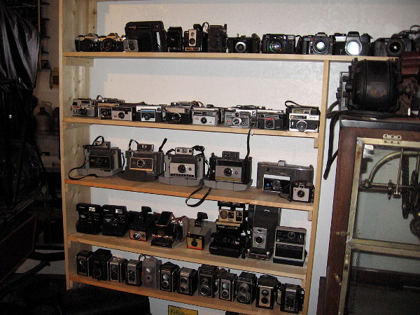 Shelves and shelves of old cameras.