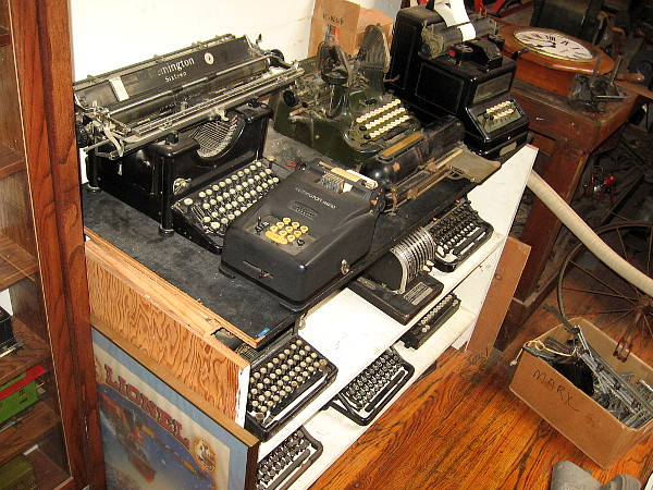 All sorts of old manual typewriters and calculating machines. (I must be an antique, too, because I used a manual typewriter when I was young!)