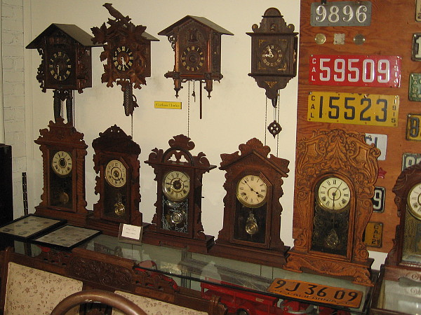 Cuckoo clocks and a historical display of different California license plates!