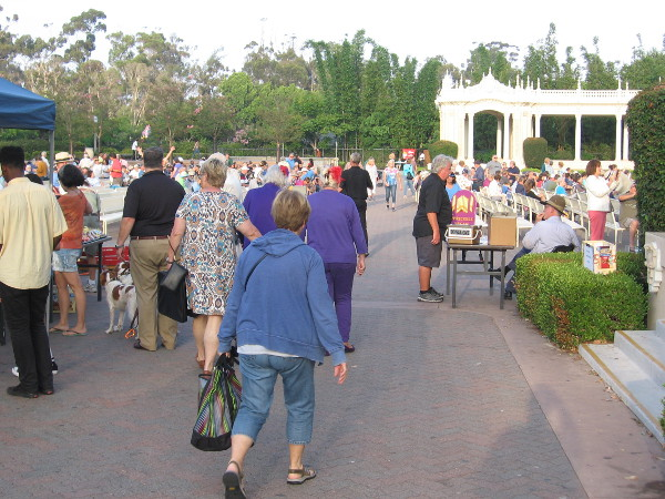 Meanwhile, more people were streaming into the Spreckels Organ Pavilion with about an hour still to go.