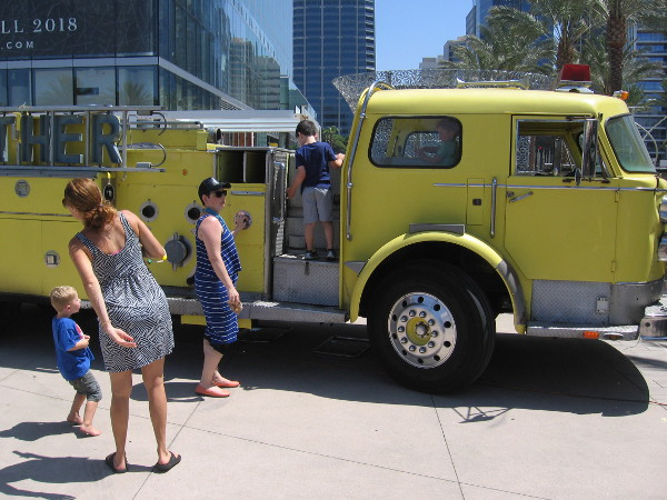 Kids liked checking out the Dang Brother Pizza fire engine.