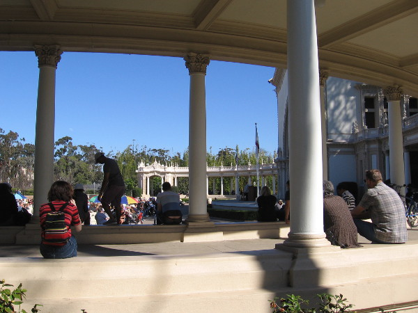 Sitting along the colonnade at the Spreckels Organ Pavilion.
