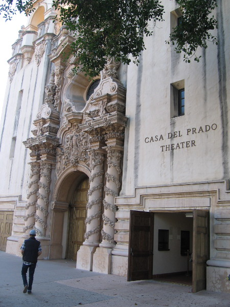 Walking past the magnificent facade of the Casa del Prado Theater.