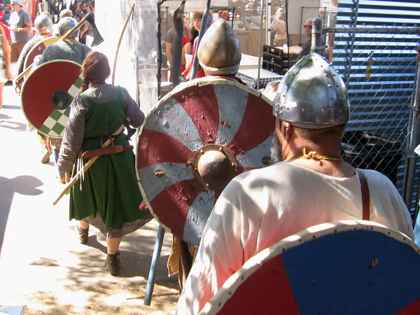 Ready for combat, warriors file through the 16th Annual Viking Festival in Vista, California.