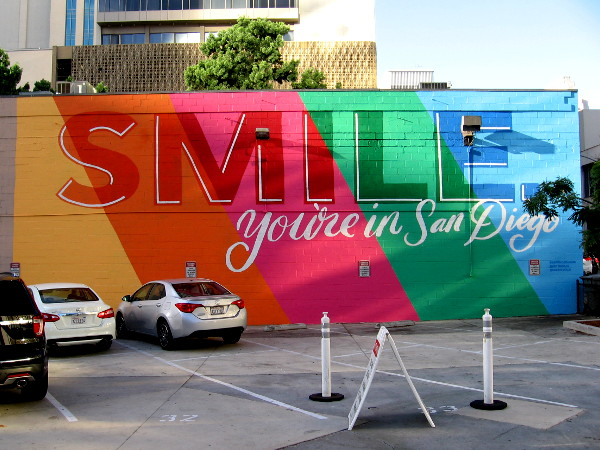SMILE, you're in San Diego. A colorful new downtown mural has been painted by artist Phoebe Cornog, one of the creative directors of PANDR Design Co.