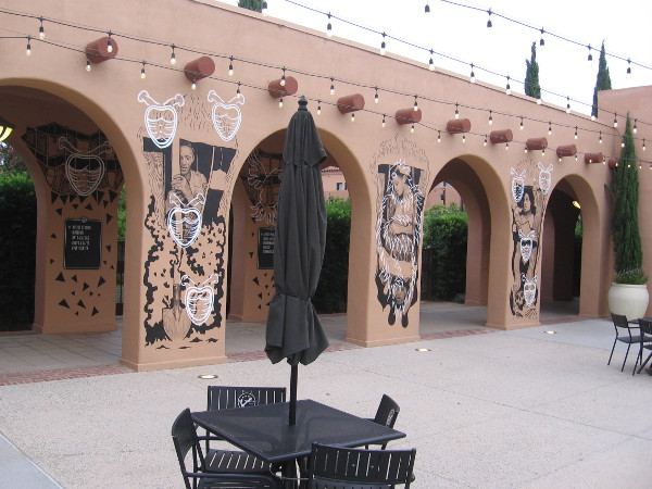 A series of columns at Liberty Station have been painted by artist Hugo Crosthwaite.
