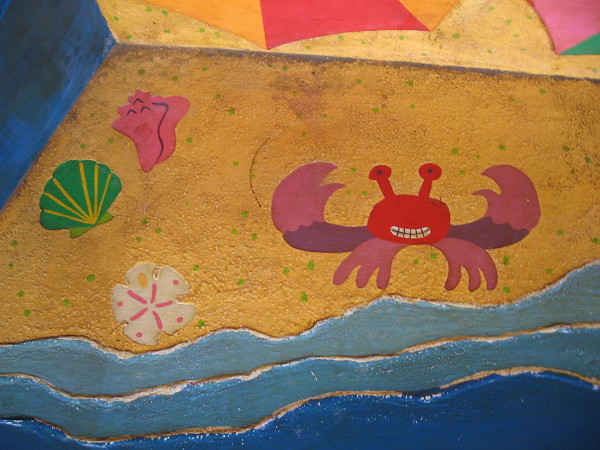 A happy crab, shells and a sand dollar.