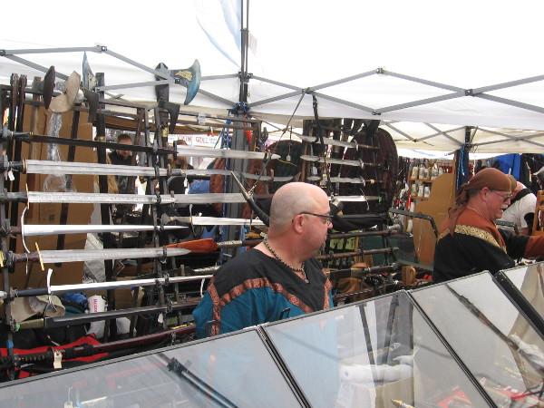 In addition to crafts and artwork, some of the vendors sell swords, axes and other weapons used by Norsemen long ago.