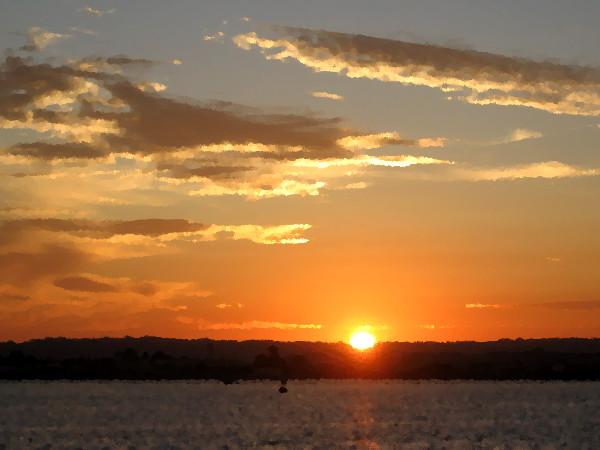 Sunset over Point Loma across San Diego Bay.