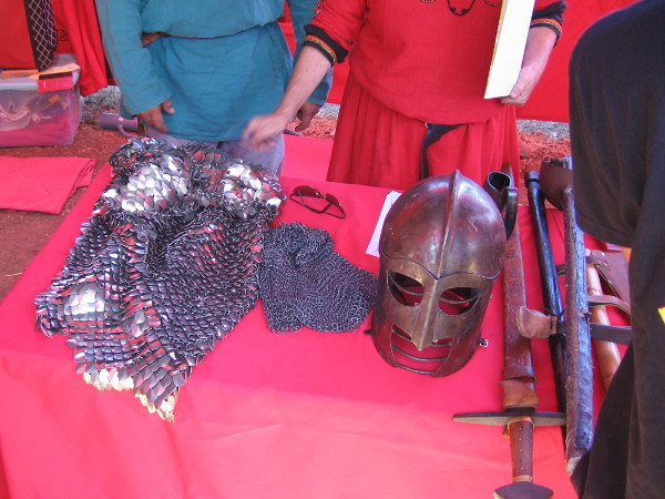 More armor and weaponry that might have been used by warring Norsemen.