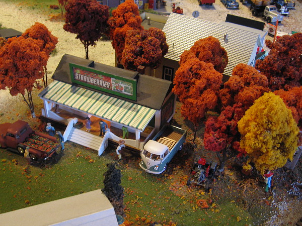 Colorful autumn leaves fill tiny trees at the Old Town Model Railroad Depot!