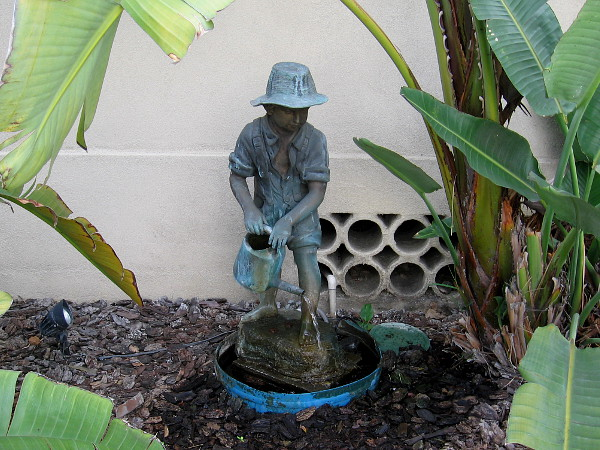 A beautiful fountain in a small Bankers Hill garden. A sculpted boy with watering can.