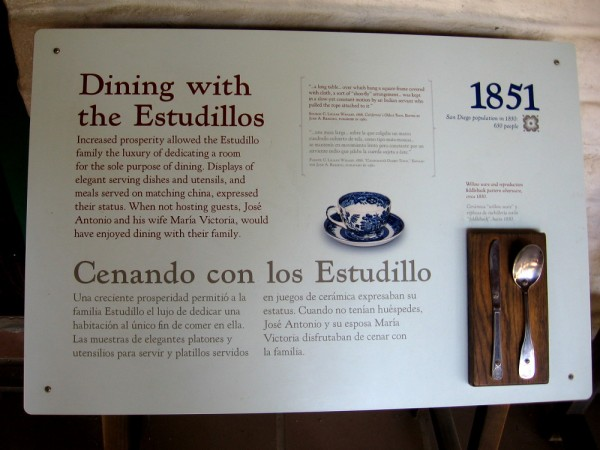 Sign describes the dining room of La Casa de Estudillo.