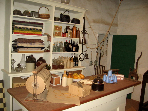 The store, or tienda, contained shelves of goods that might be purchased by the residents of Old Town San Diego. Much of the merchandise came by ship from the East Coast around Cape Horn.