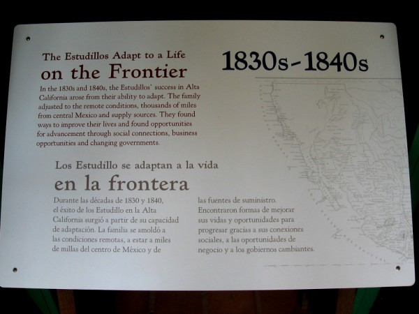 Sign describes how the Estudillos adapted to life on the frontier in the 1830's and 1840's.