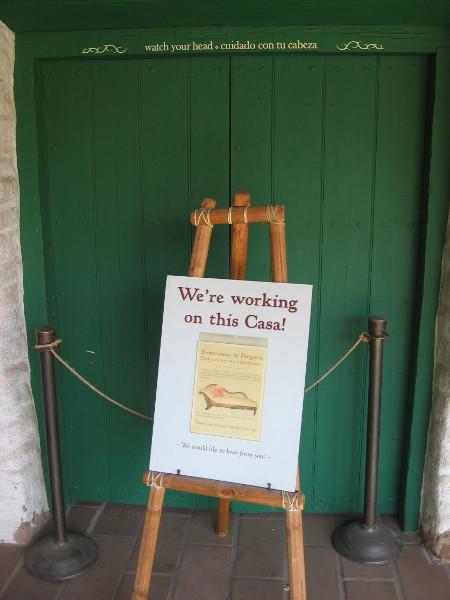 Several additional rooms at La Casa de Estudillo are undergoing restoration.
