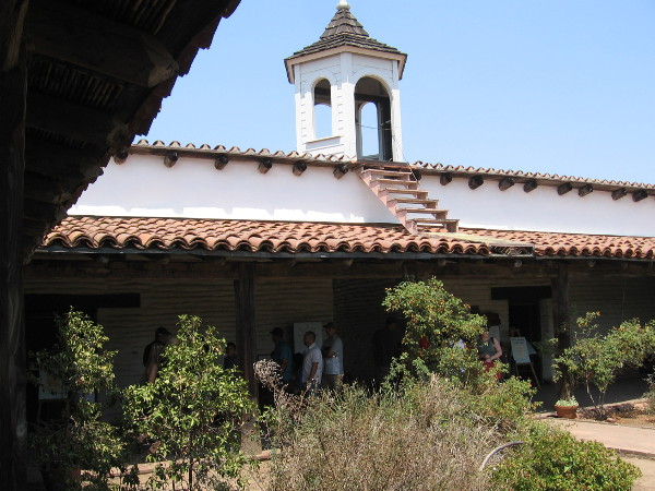 Photo of the Casa de Estudillo's tower from the central garden courtyard.