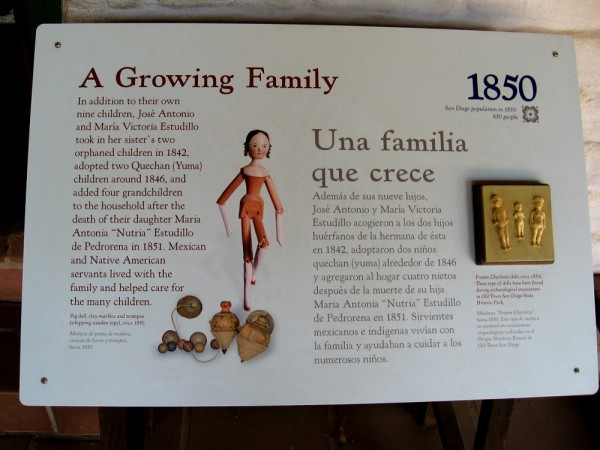 Sign explains how the Estudillos cared for a growing family including many children.