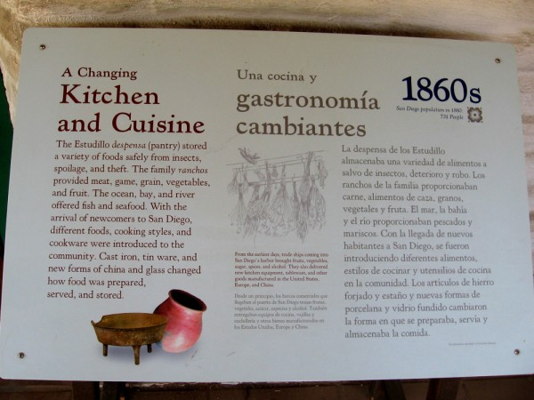 Sign describes the Estudillo kitchen and pantry. The family's ranchos provided meat, game, vegetables and fruit.