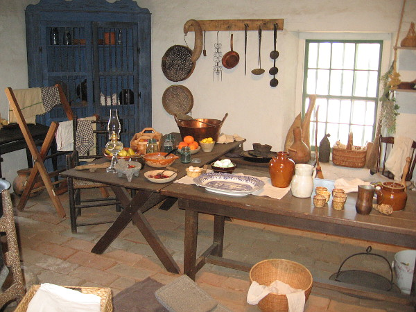 The kitchen inside La Casa de Estudillo provides an idea of what life might have been like in early San Diego.