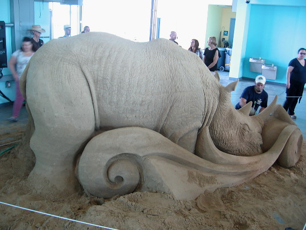 Eulogy, a sand sculpture of a rhinoceros by World Master Brian Turnbough from Chicago, Illinois.