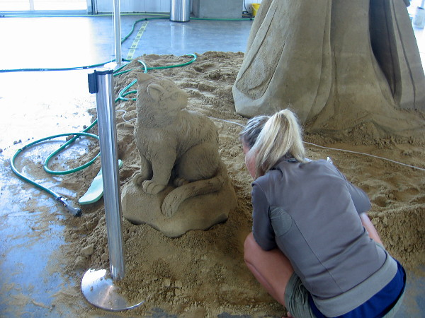 Agnese Rudzite-Kirillova puts the final touches on a sand cat.