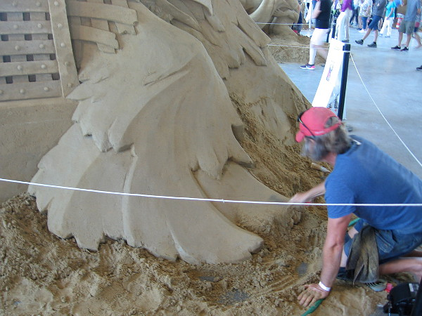 The base of Liberation, a sand sculpture about freedom by World Master Dan Belcher from St. Louis, Missouri.