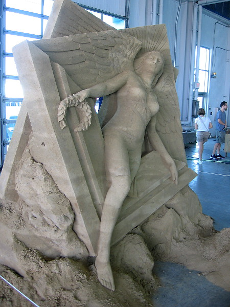 Victory, a classic sand sculpture by World Master Thomas Koet from Melbourne, Florida.