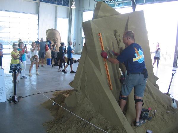 A world-class sand artist at work.