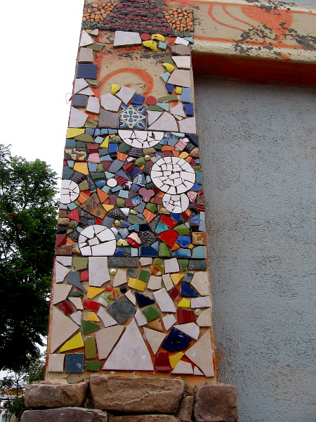 The beautiful tile mosaic A is not quite completed.