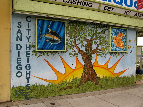One business along University Avenue had their building painted with a wonderful mural with images of nature.