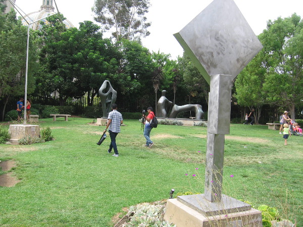 All sorts of people were out on the grass enjoying the May S. Marcy Sculpture Garden at the San Diego Museum of Art.