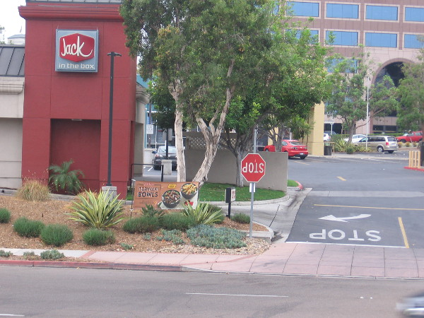 If you're driving an inverted car past Jack in the Box near Hazard Center, this stop sign might make sense.