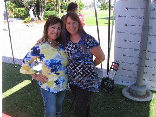 These nice ladies welcoming visitors to the San Diego Kidpreneur Expo event at Waterfront Park smiled for a photo!