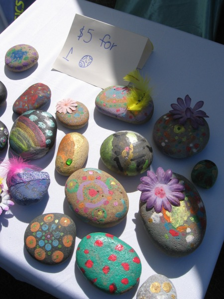 One young person at the expo hand painted some very colorful smooth stones.