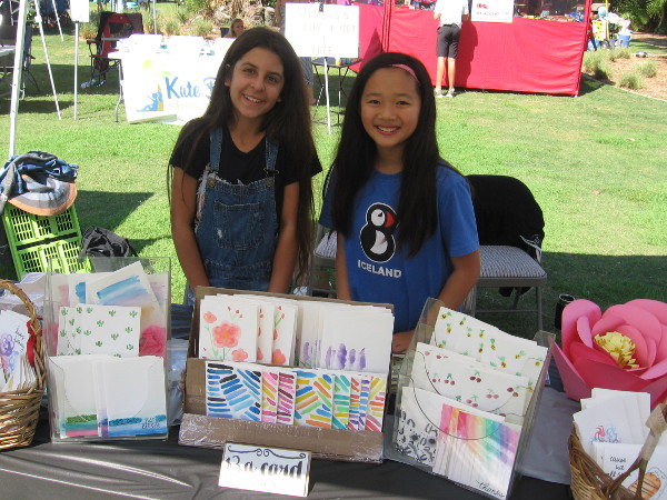 These young ladies of the Sunday Morning Studio had lots of really great handmade watercolor greeting cards for sale.