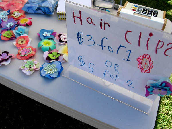 Another very young entrepreneur made some very pretty flower hair clips.