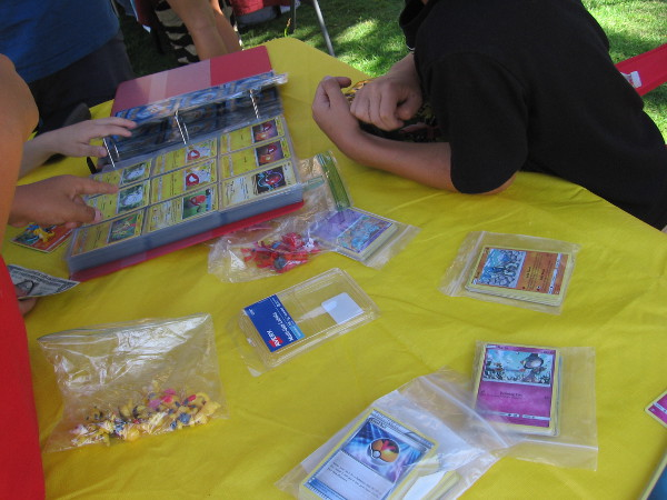 Lots of business was transacting at the Pokemon Center.