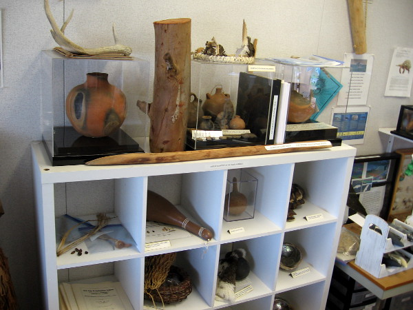 Various human artifacts on display include Native American Kumeyaay clay pots, weapons and tools.
