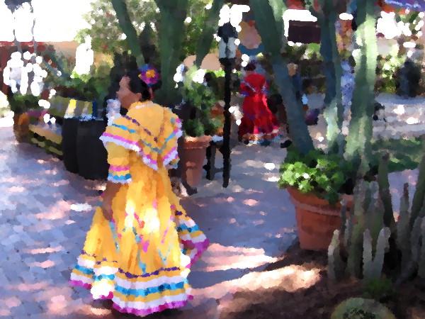 Ballet folklórico dancer at Fiesta de Reyes in Old Town San Diego.