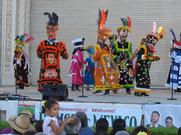 Los Chinelos De Morelos dance in Balboa Park. The traditional dance of the State of Morelos, Mexico includes Carnival-like costumes and masks.