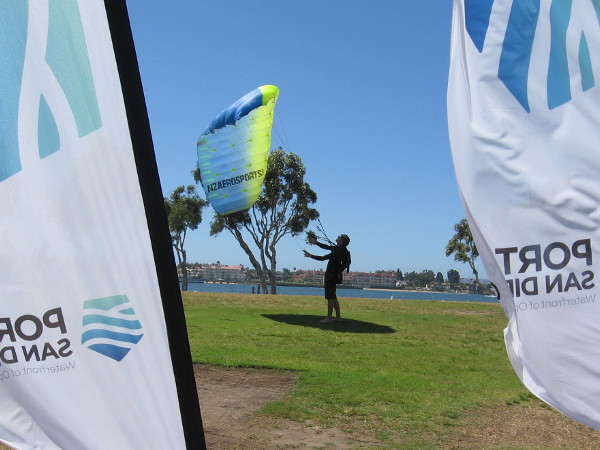 Testing a parachute in a section of the park where Swoop Freestyle contestants prepared and boarded a helicopter.