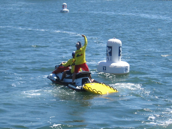 Members of a Rescue Team were out on the water, but during the time I watched, they weren't needed.